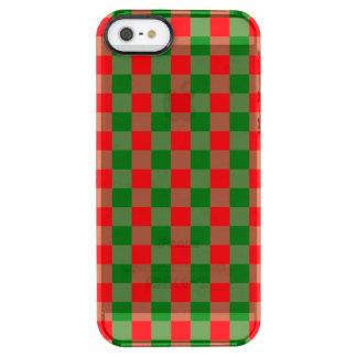 Capa Para iPhone SE/5/5s Transparente Grande Tartan vermelho e verde da verificação do