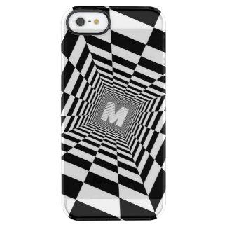 Capa Para iPhone SE/5/5s Transparente Ilusão óptica preta & branca, monograma branco