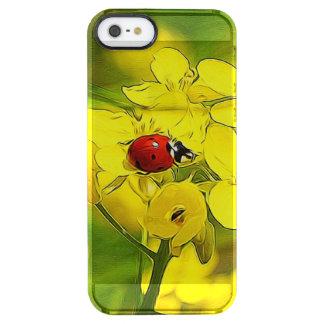Capa Para iPhone SE/5/5s Transparente Joaninha amarelo do vermelho da boa sorte da flor