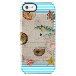 Capa Para iPhone SE/5/5s Transparente Listras azuis do tesouro marinho