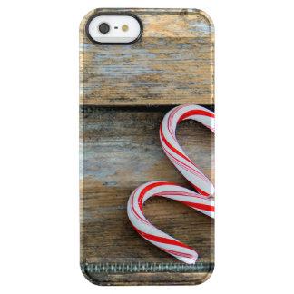 Capa Para iPhone SE/5/5s Transparente Madeira rústica com os bastões de doces do Natal