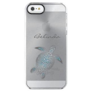 Capa Para iPhone SE/5/5s Transparente Monograma claro de prata animal da tartaruga de