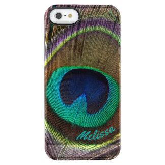 Capa Para iPhone SE/5/5s Transparente Olho bonito da pena do pavão, seu nome