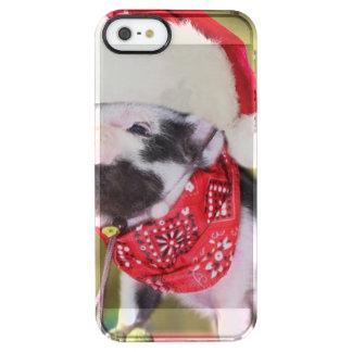Capa Para iPhone SE/5/5s Transparente Porco Papai Noel - porco do Natal - leitão