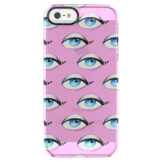 Capa Para iPhone SE/5/5s Transparente Rosa do teste padrão de olhos azuis