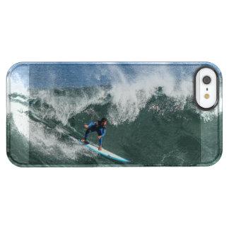 Capa Para iPhone SE/5/5s Transparente Surfista na prancha azul e branca