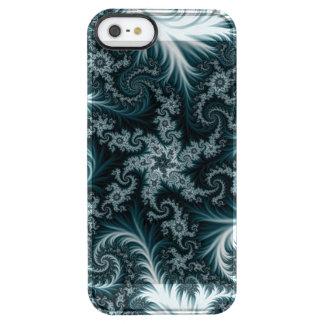 Capa Para iPhone SE/5/5s Transparente Teste padrão ciano e branco do fractal