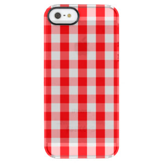 Capa Para iPhone SE/5/5s Transparente Xadrez vermelha e branca do grande Natal do