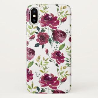 Capa Para iPhone X A aguarela Borgonha floresce o teste padrão floral