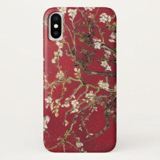 Capa Para iPhone X A amêndoa floresce pintura vermelha da arte de