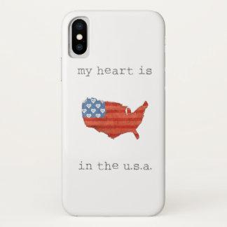 Capa Para iPhone X A americana | meu coração está no mapa dos EUA