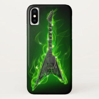 Capa Para iPhone X A guitarra no verde arde o caso do iPhone X