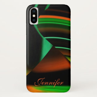 Capa Para iPhone X A laranja verde de N listra formas de N