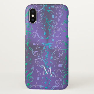 Capa Para iPhone X A música azul verde roxa de w da lavanda nota o
