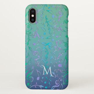 Capa Para iPhone X A música roxa azul verde da cerceta nota o