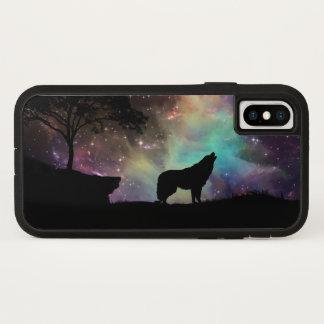 Capa Para iPhone X A noite da lua do uivo do lobo stars árvores