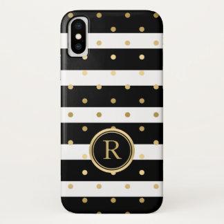 Capa Para iPhone X A Ouro-Polca pontilha listras pretas & brancas