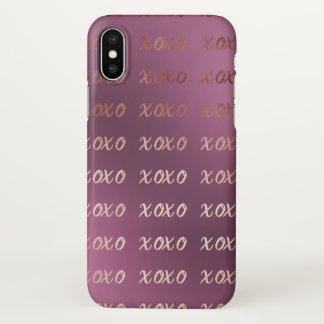 Capa Para iPhone X a tipografia cor-de-rosa do ouro do falso abraça e