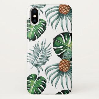 Capa Para iPhone X Abacaxis e palmas