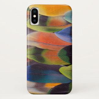 Capa Para iPhone X Abstrato das penas de cauda do Lovebird