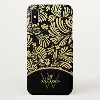 Capa Para iPhone X Abstrato floral do ouro preto elegante do