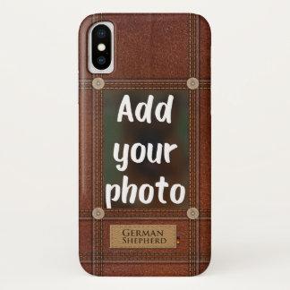 Capa Para iPhone X Adicione seu cão de german shepherd da foto - GSD