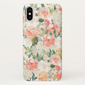 Capa Para iPhone X Aguarela feminino do pêssego e do rosa floral