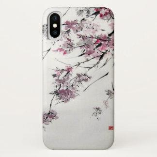 Capa Para iPhone X Aguarela japonesa antiga das flores de cerejeira