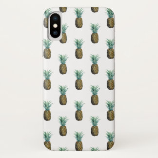 Capa Para iPhone X Aguarela tropical do abacaxi