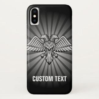 Capa Para iPhone X Águia cinzenta com duas cabeças