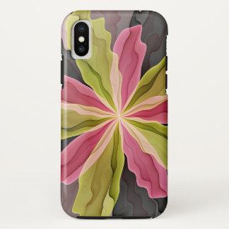 Capa Para iPhone X Alegria, Fractal antracífero verde da flor da