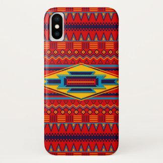 Capa Para iPhone X Amarelo vermelho africano moderno do teste padrão