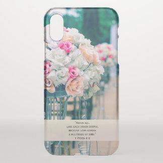 Capa Para iPhone X Amor do buquê da flor e verso da bíblia do