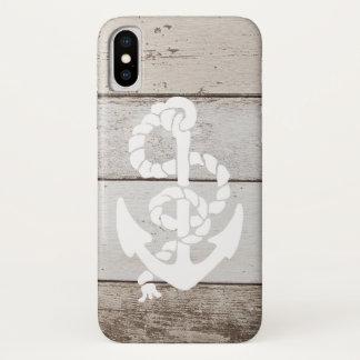 Capa Para iPhone X Âncora náutica da navigação na madeira do falso -