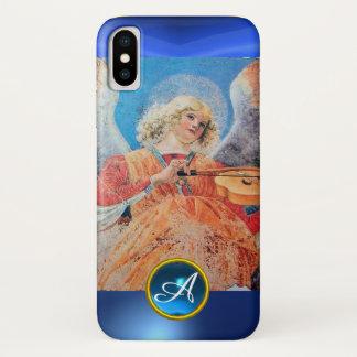 Capa Para iPhone X ANJO MUSICAL, monograma azul da safira
