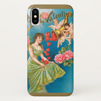 Capa Para iPhone X Anjos do dia dos namorados do Victorian do vintage