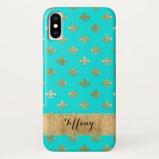 Capa Para iPhone X Aqua, caso do iPhone X da case mate da flor de lis
