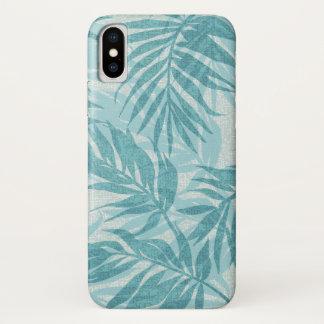 Capa Para iPhone X Aqua tropical havaiano do vintage das palmas da
