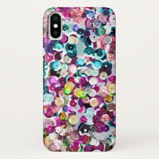 Capa Para iPhone X Arco-íris de tamanho grande Glam Bling dos Sequins