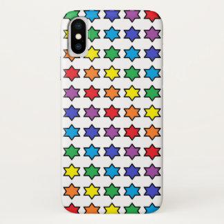Capa Para iPhone X Arco-íris esboçado preto estrelas de 6 pontos