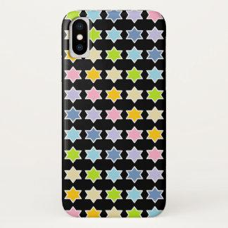 Capa Para iPhone X Arco-íris Pastel esboçado branco estrelas de 6