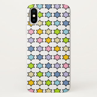 Capa Para iPhone X Arco-íris Pastel esboçado preto estrelas de 6