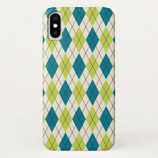 Capa Para iPhone X Argyle azul e verde