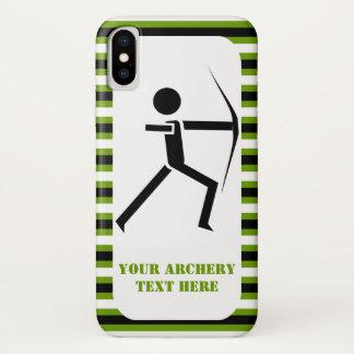 Capa Para iPhone X Arqueiro com seu preto do arco, listras verdes do