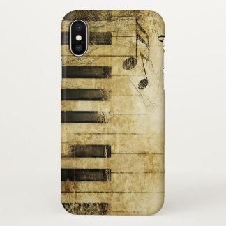 Capa Para iPhone X arte abstracta do piano da música do vintage