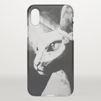 Capa Para iPhone X Arte animal do retrato do gatinho branco do preto