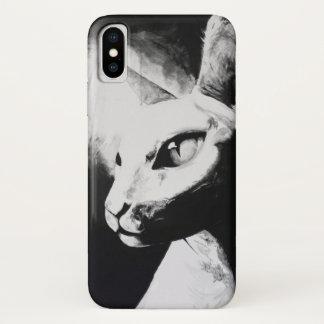 Capa Para iPhone X Arte calva do gatinho do contraste branco do preto