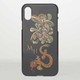 Capa Para iPhone X Arte chinesa ornamentado metalizada do dragão
