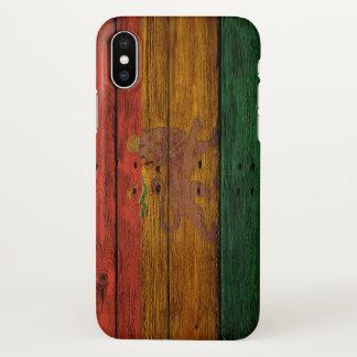 Capa Para iPhone X arte de madeira da música do leão da bandeira do