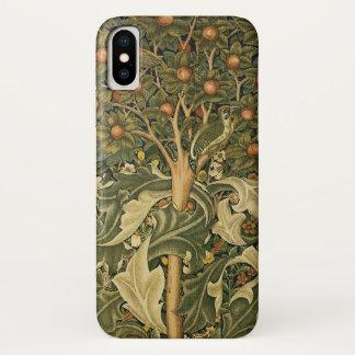 Capa Para iPhone X Arte de matéria têxtil do vintage, pica-pau por